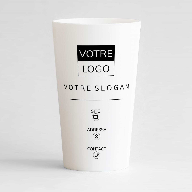 Un ecocup blanc de face à personnaliser pour votre entreprise avec logo, slogan et contacts design.