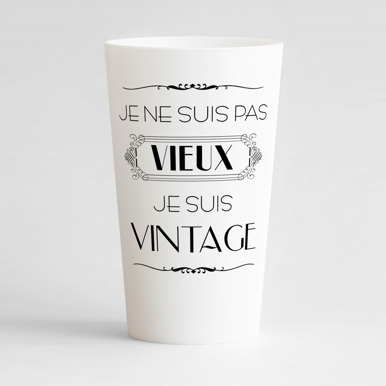 Un ecocup blanc de face pour un anniversaire vintage à personnaliser