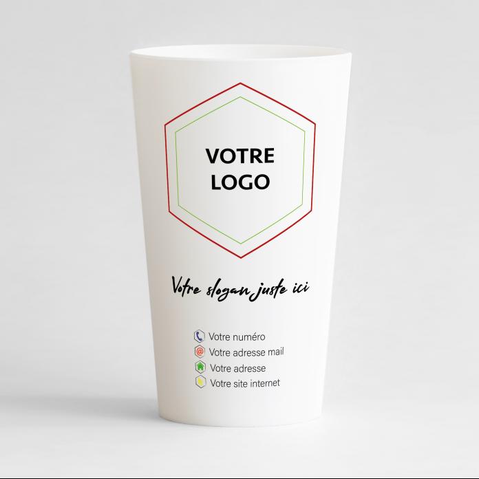 Un ecocup blanc de face à personnaliser pour votre entreprise avec logo et slogan.