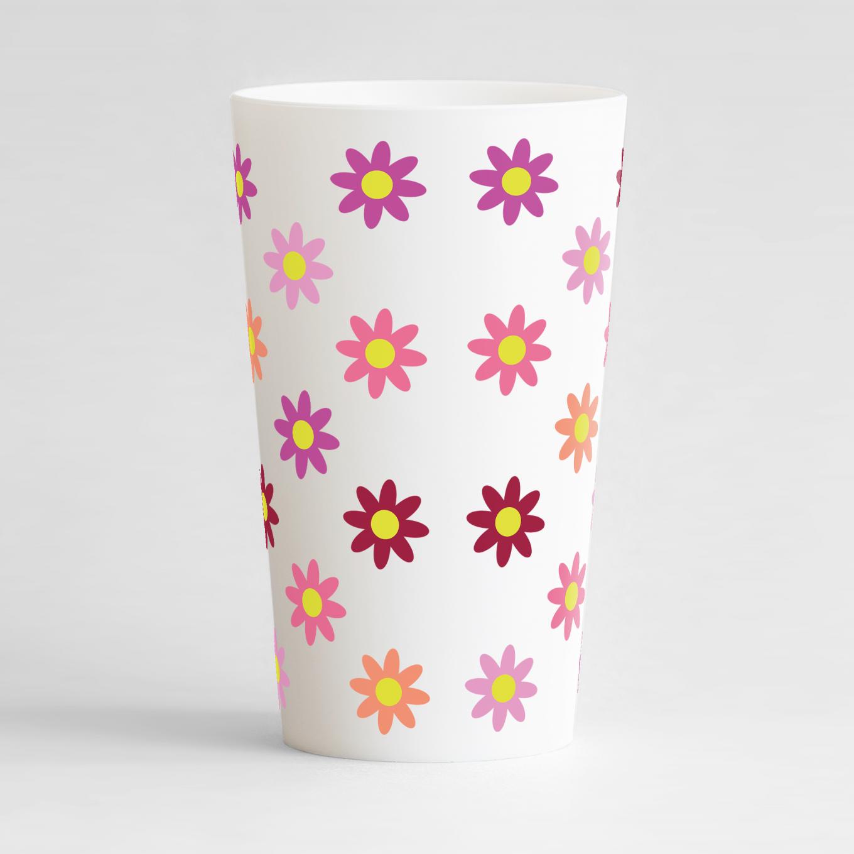 Un ecocup blanc de dos avec des fleurs colorées