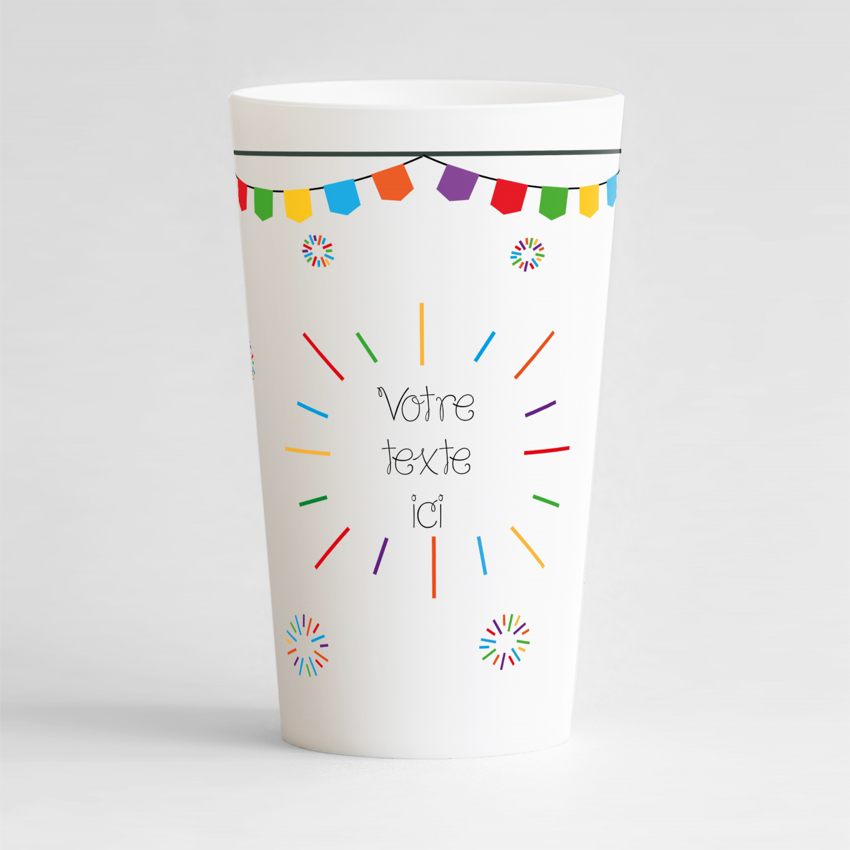Un ecocup blanc de face pour faire la fête, avec des feux d'artifices multicolores et une zone de texte à personnaliser.