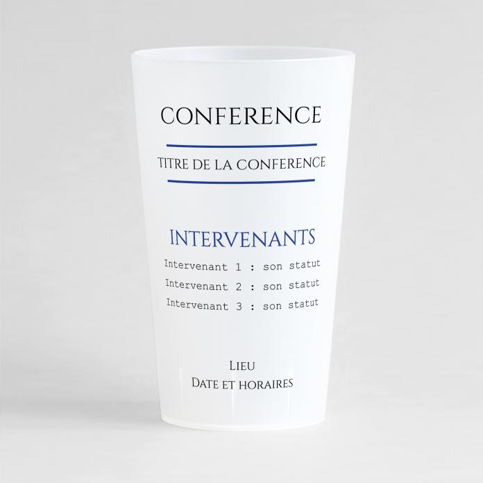 Un ecocup givré de face pour une conférence, avec le thème de la rencontre, les noms des intervenants ainsi que la date et le lieu de la rencontre.