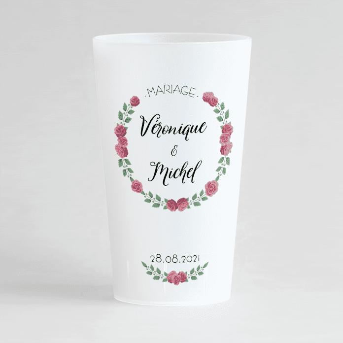 Un ecocup givré de face pour un mariage, avec une couronne de roses, prénoms et date personnalisables.