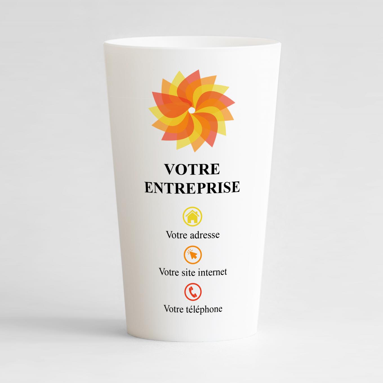 Un ecocup blanc de face pour entreprise personnalisé avec nom de l'entreprise et coordonnées