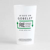 Un ecocup givré de face avec un message écologique, pour distribuer à vos clients ou vos salariés.