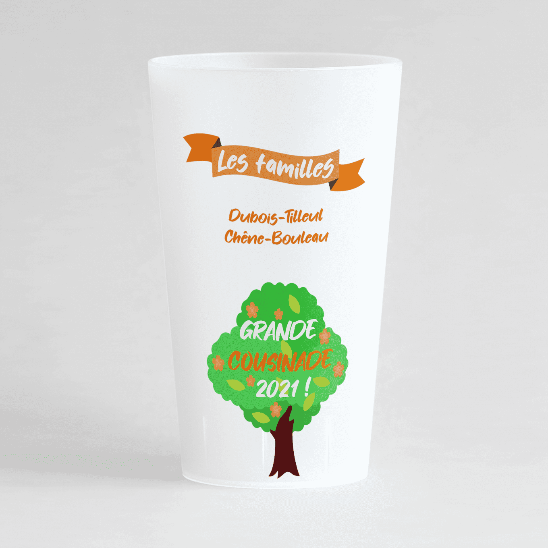 Un ecocup givre de face pour une cousinade avec un arbre et un ruban