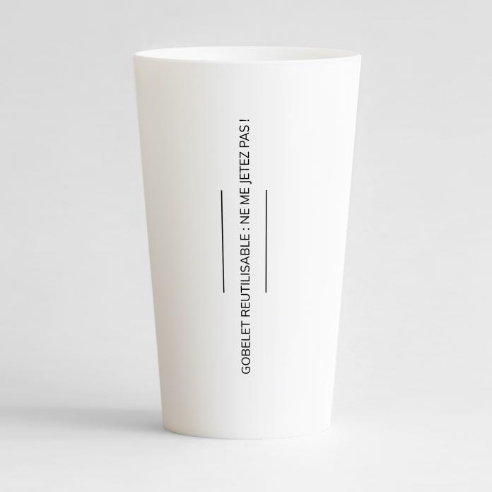 Un ecocup blanc de dos personnalisable, sous le format carte de visite pour votre entreprise.