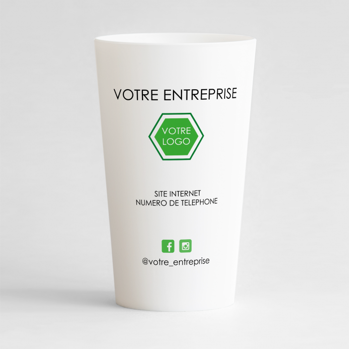 Un ecocup blanc de dos avec vos coordonnées, votre logo et le nom de votre entreprise.
