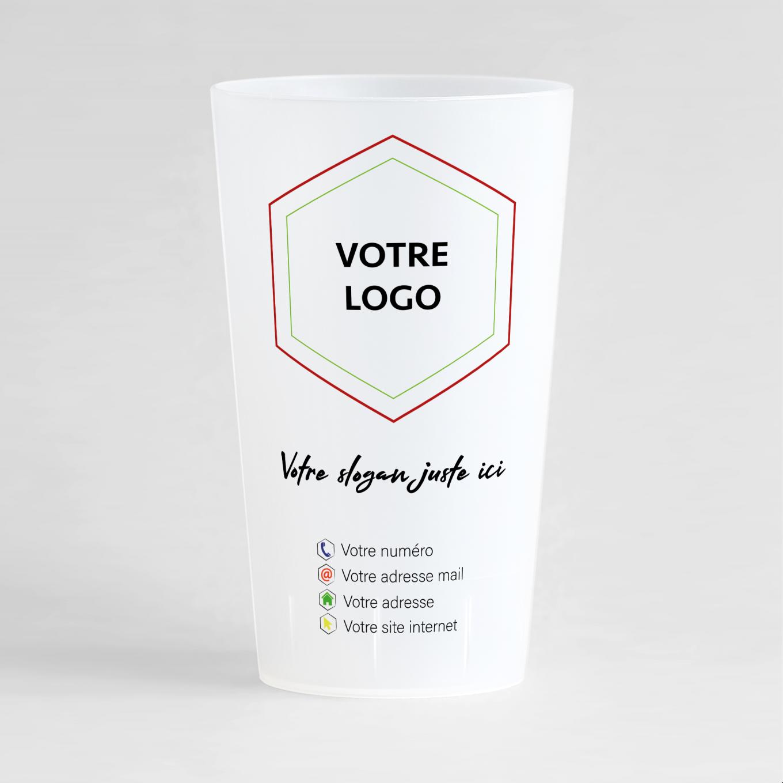 Un ecocup givré de face à personnaliser pour votre entreprise avec logo et slogan.