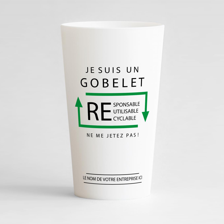 Un ecocup blanc de face avec un message écologique, pour distribuer à vos clients ou vos salariés.