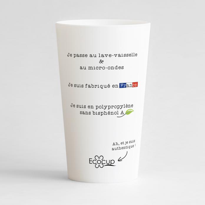 Un ecocup blanc de dos pour une entreprise, qui affiche fièrement ses valeurs !