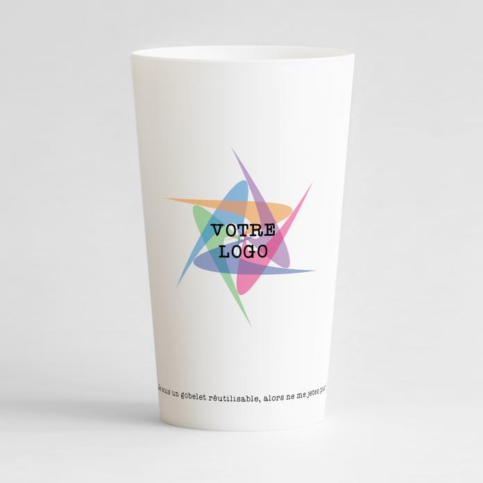 """Un ecocup blanc de dos pour une entreprise, avec une zone pour un logo et une phrase """"cocup réutilisable""""."""
