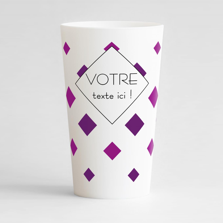 Un ecocup blanc de face avec des gros confettis colorés et une zone de texte personnalisable.