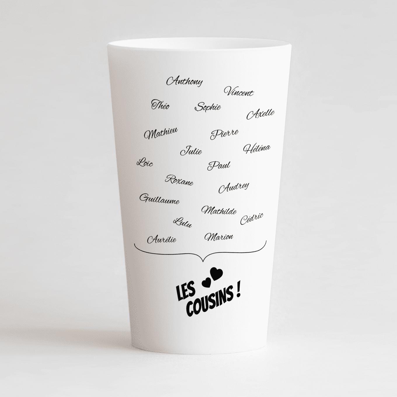 Un ecocup blanc de dos personnalisé pour une cousinade avec les prénoms de tous les cousins !