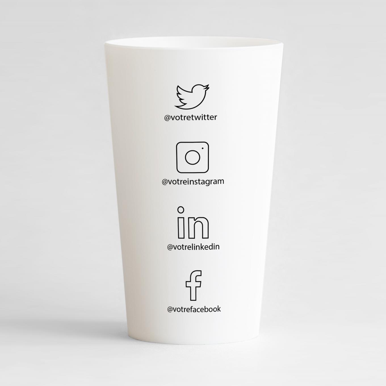Un ecocup blanc de dos avec un thème carte de visite réseaux sociaux , à personnaliser.