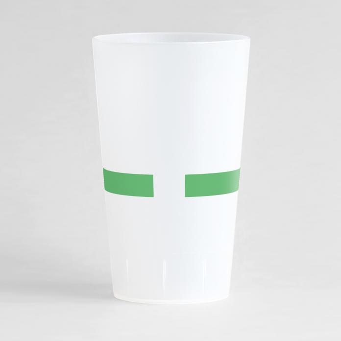 Un ecocup givré de dos pour une entreprise, avec l'extrémité d'une bande verte