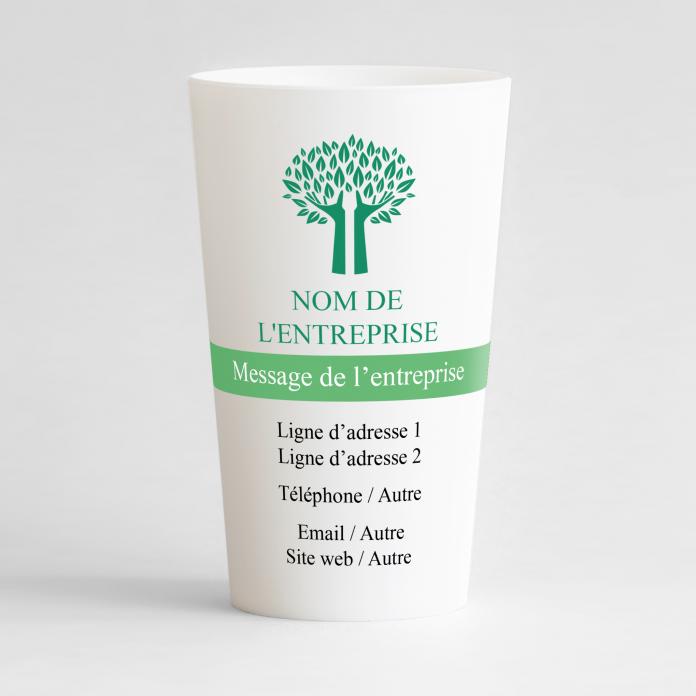 Un ecocup blanc de face pour une entreprise avec sa carte de visite personnalisable