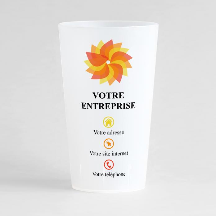Un ecocup givré de face pour entreprise personnalisé avec nom de l'entreprise et coordonnées