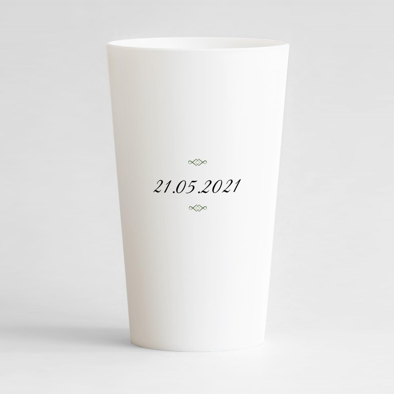 Un ecocup blanc de dos pour une communion avec la date