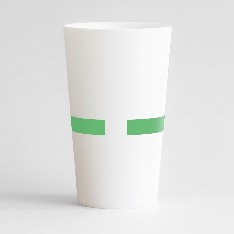 Un ecocup blanc de dos pour une entreprise, avec l'extrémité d'une bande verte
