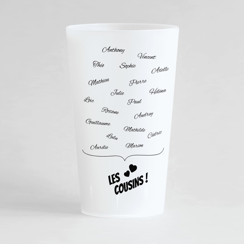 Un ecocup givré de dos personnalisé pour une cousinade avec les prénoms de tous les cousins !