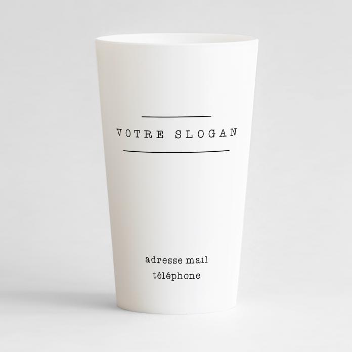 Un ecocup blanc de dos sur une base carte de visite, avec une place pour votre slogan et vos contacts.
