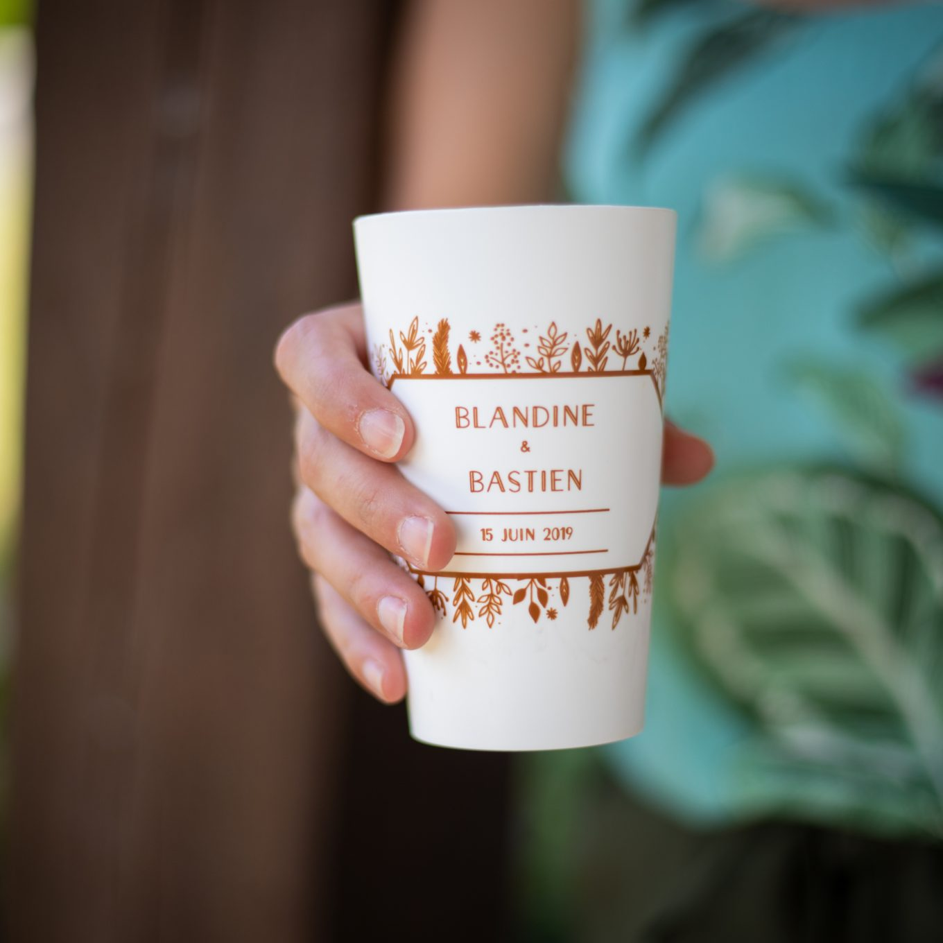 Ecocup blanc mariage couple