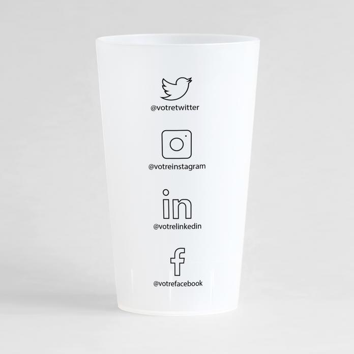 Un ecocup givré de dos avec un thème carte de visite réseaux sociaux , à personnaliser.