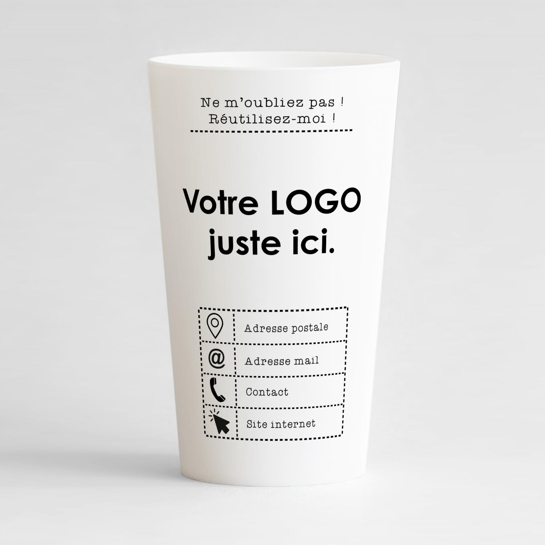 Un ecocup blanc de face pour votre entreprise avec des couleurs vives et des zones pour votre logo et vos coordonnées