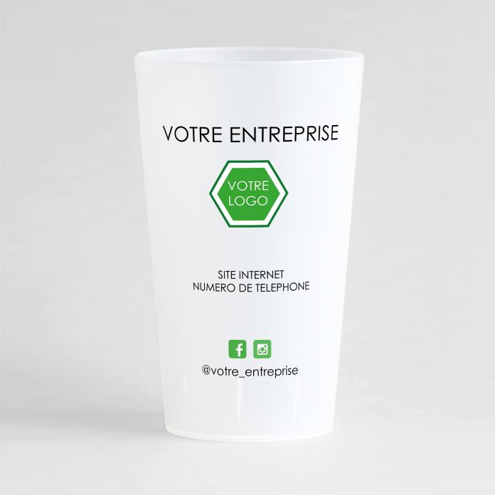Un ecocup givré de dos avec vos coordonnées, votre logo et le nom de votre entreprise.