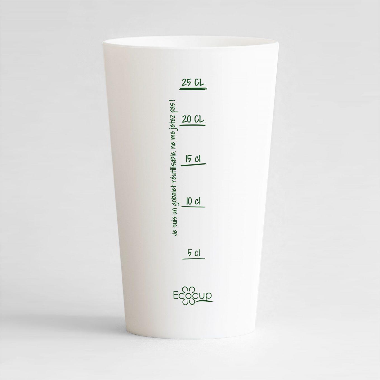 Un ecocup blanc de dos avec une graduation de style manuscrite ainsi que le logo Ecocup et une phrase je suis un gobelet réutilisable.