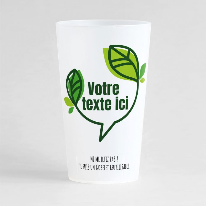 Un bel ecocup givré de face avec une bulle végétale dans laquelle il y a une zone de texte personnalisable.
