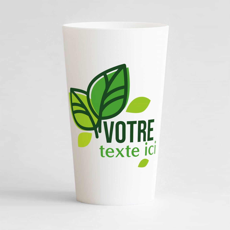 Un ecocup blanc de face pour votre événement, avec des jolies feuilles et zones de texte