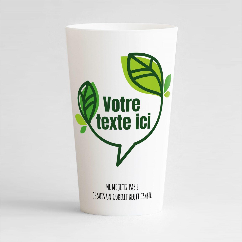 Un bel ecocup blanc de face avec une bulle végétale dans laquelle il y a une zone de texte personnalisable.