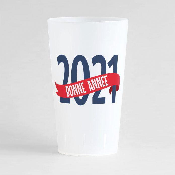 """Un gobelet givré réutilisable et personnalisable idéal pour nouvel an avec le texte """"bonne année"""" !"""