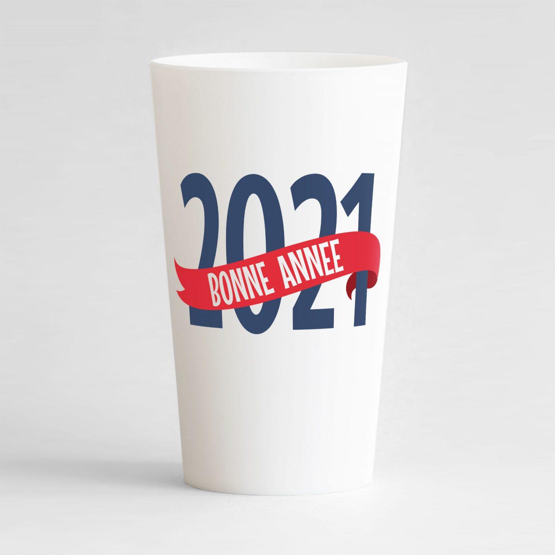 """Un gobelet blanc réutilisable et personnalisable idéal pour nouvel an avec le texte """"bonne année"""" !"""