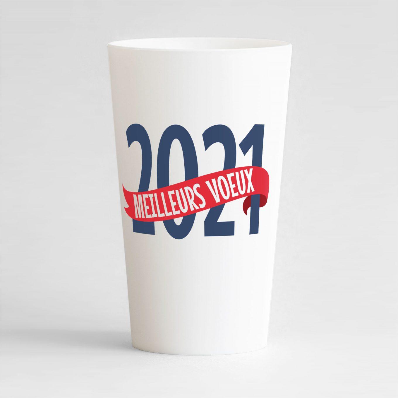 """Un gobelet blanc réutilisable et personnalisable idéal pour nouvel an avec le texte """"meilleurs voeux"""" !"""