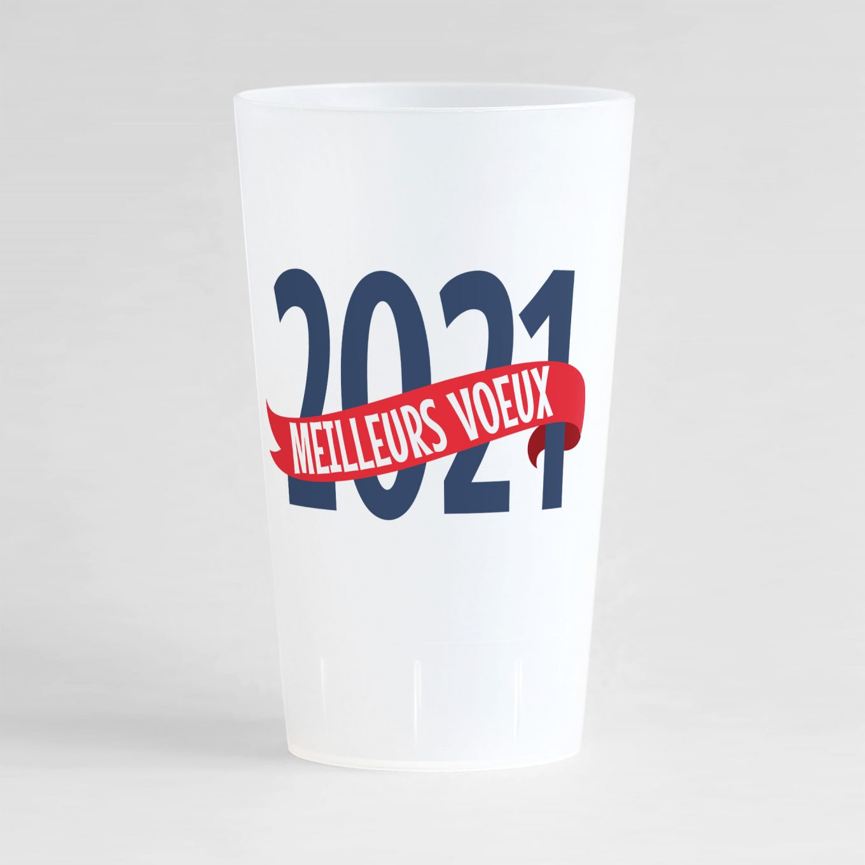 """Un gobelet givré réutilisable et personnalisable idéal pour nouvel an avec le texte """"meilleurs voeux"""" !"""