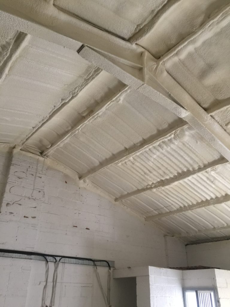 Spray foam industrial unit roof