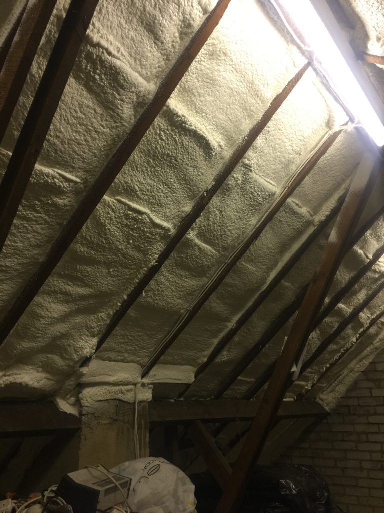 Spray foam insulation in 1950s loft
