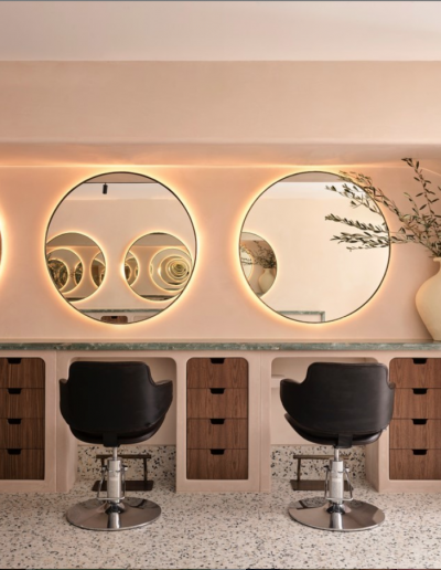 Headcase Hair Salon Sydney image of interiors of the hair stations, hairdressing chairs, mirrors and interior design