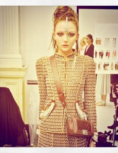 Chanel show Sydney Australia model posing backstage with upstlye hairstyle