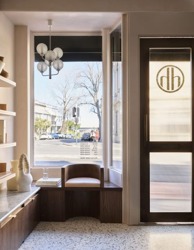 Headcase Hair Salon Sydney image of front of salon, entrance, waiting area and interior design