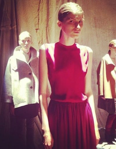 Fashion week New York image of three girls with low pony tail hairstyle and long hair