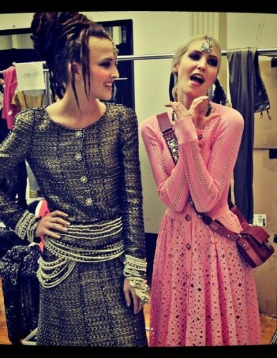 Chanel show Sydney Australia models backstage with upstlye hairstyles beehive hair inspiration