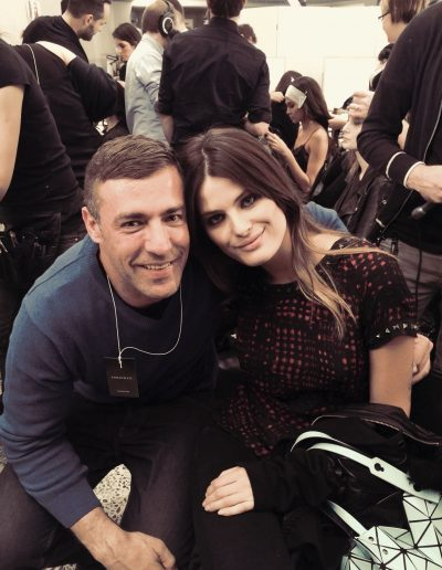 Milan Fashion Week Headcase Hair Sydney director John Pulitano with model with center part hairstyle