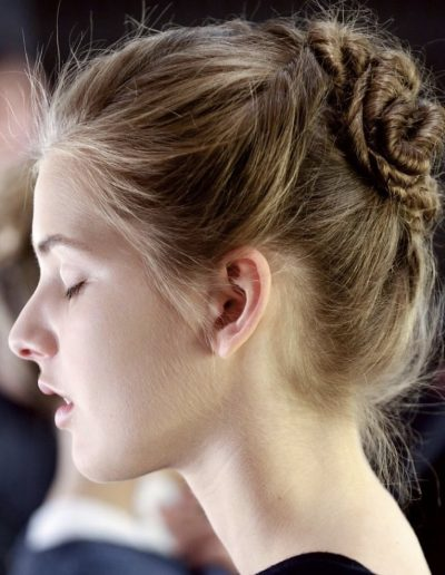 Australian Fashion Week Sydney model with messy upstyle hairstyle done by Headcase Hair Potts Point Sydney