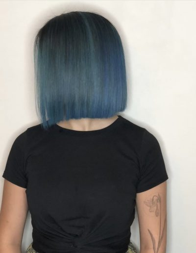 Girl with Blue hair colour and long bob lob haircut with straight hairstyle at Headcase Hair Potts Point Sydney