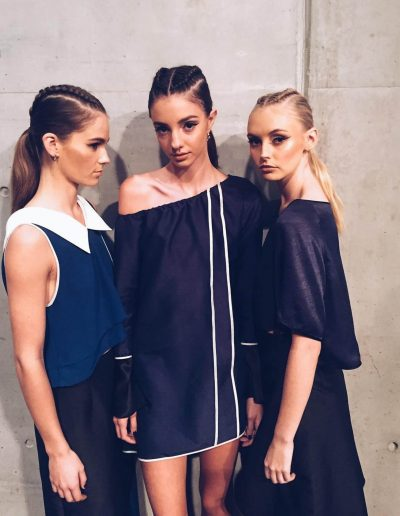 Australian Fashion Week Sydney three models hairstyles with pony tails and plaits on long hair brunette and blonde hair colours