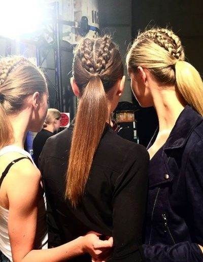 Australian Fashion Week Sydney three models hairstyles with pony tails and plaits on brunette and blonde hair colours